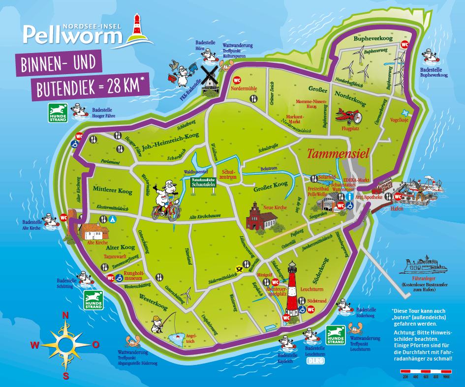 Pellworm Karte.Fahrradfahren Pellworm